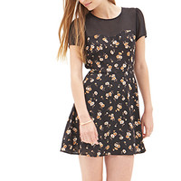 FOREVER 21 Chiffon & Floral Dress Black/Cream