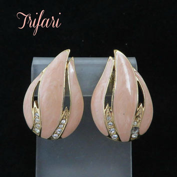 Trifari Earrings - Vintage Pink Enamel Rhinestone Earrings, Gold Tone Clip-ons, Missing Rhinestones