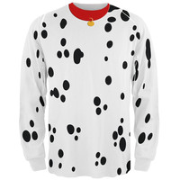 Dog Dalmatian Costume Red Collar All Over Adult Long Sleeve T-Shirt