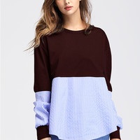 Casual Round Neck Long Sleeve Splicing Sweatshirt - NOVASHE.com