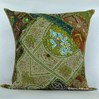 Antique Green Heavy Beaded & Embroidered Accent Throw Pillow Case Sham