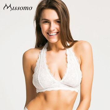 Missomo 2017 New Fashion Women Black White Lace Sexy Push Up Bralette Semi-sheer Underwear Print Flower Trim Soft Halter Bras
