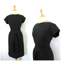 Vintage 1950s dress Black Eyelet Cotton Embroidered Fringe belt by Bowit Teller Pinup Wiggle Cocktail party dress S/M