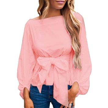 Bowknot Peplum Tunic Tops For Women 2018 Summer Long Sleeve Ruffle Blouse Femme Ladies Cotton Shirts Causal Tees Blusas Mujer