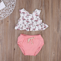 2PCS Set Cute Newborn Infant Baby Girl Clothes 2017 Summer Sleeveless Tank Tops Ruffles T-shirt +Bloomer Bottoms Outifts Sunsuit