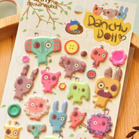 Handmade button eyed plush doll sticker Dachu Doll puffy sticker cute animal doll seal label button doll colorful farm zoo kids sticker