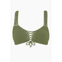 Bralette Lace Up Front Crochet Bikini Top - Olive
