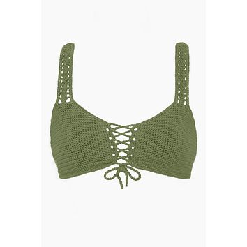 Crochet Lace Up Front Bralette Bikini Top - Olive Green