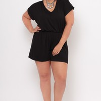 Plus Size Dolman Tie Back Romper - Black