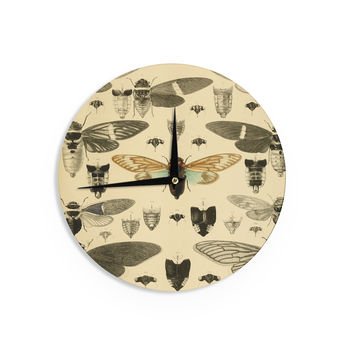 "Suzanne Carter ""Vintage Cicada"" Bugs Pattern Wall Clock"