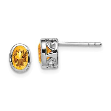 Sterling Silver Polished Citrine Oval Post Earrings