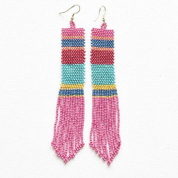 hot pink multi color seed bead earring