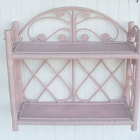 Vintage Pink Wicker Shelf by thejunkman on Etsy