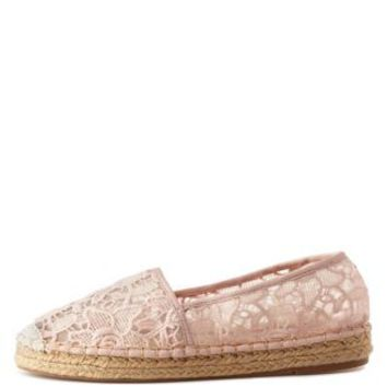 Blush Slip-On Lace Espadrille Flats by Charlotte Russe