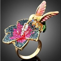 Flower & Hummingbird w/ Crystals GP Ring sz 8
