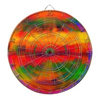 Bright Orange Green Pattern tie-dye Abstract Dart Board