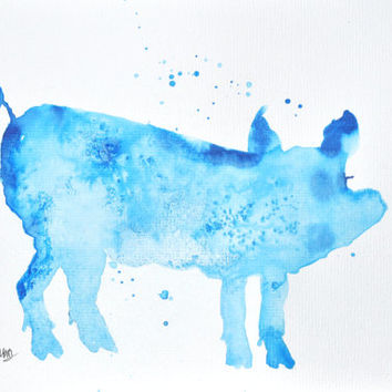 Watercolor Pig Painting – Original Watercolor Art, Unmounted, Nursery, Wall Decor,  Home Decor, Animal Paintings - by MABartStudio