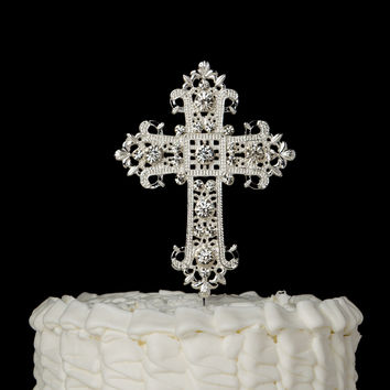Cross Cake Topper - Elegant Silver