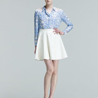 Claire Printed Lace-Shoulder Blouse & Constance Leather Circle Skirt