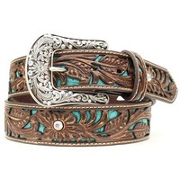Ariat Tooled Turquoise Leather Inlay Belt - Sheplers
