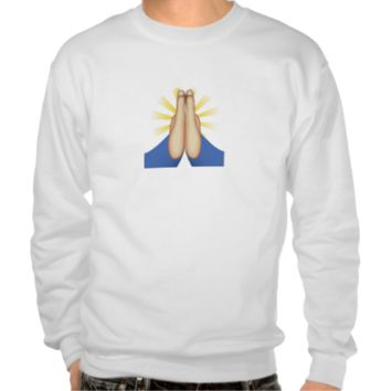 Person With Folded Hands Emoji Pull Over Sweatshirts