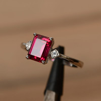 lab ruby ring emerald cut gemstone ring July birthstone ring promise ring for her multistone ring
