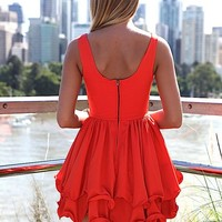 Red Sleeveless Dress with Double Frill Hemline