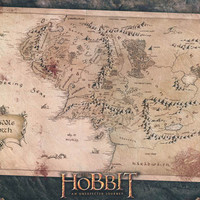 The Hobbit Map of Middle Earth Poster 22x34