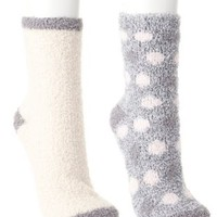 Fuzzy Socks - 2 Pack by Charlotte Russe - Gray Combo