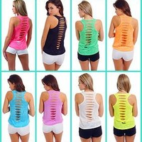 WOMENS / JUNIORS SEXY SLIT BURNOUT RACER BACK TANK TOP NEON COLOR CUT BACK SHIRT
