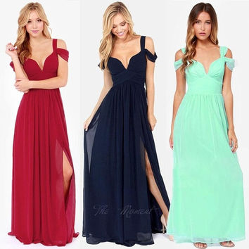 Women's Ladies Greek Style Long Chiffon Pleated Dress Deep V-neck Sexy Evening Cocktail Maxi Dresses tm = 1931852420