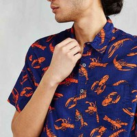 CPO Lobster Print Short-Sleeve Button-Down Shirt