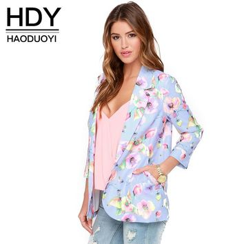 New Fashion Floral Printed Women Slim Casual Basic Jacket Female Vintage Autumn Brief Overcoat Office Ladies