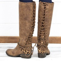 Very Volatile: Marcel Lace Up Back Leopard Insert Boots {Tan}