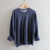 Tommy Hilfiger Sweater Navy Blue Cotton Sweater Blue Pullover Slouchy Sweater V-neck Unisex Knit Minimalist Vintage 90s Size XL