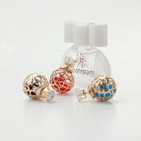 Hollow Out Zircon Crystal Double Pearl Earring