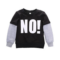 """Letter """"NO """"Long Sleeve Baby Boy Fall Casual Pullover Tops boys hoodies and sweatshirts"""