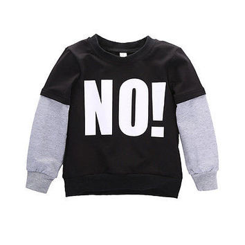 "Letter ""NO ""Long Sleeve Baby Boy Fall Casual Pullover Tops boys hoodies and sweatshirts"
