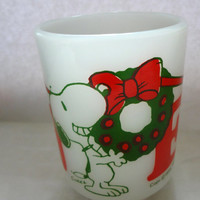 Vintage Snoopy And Woodstock Christmas Mug Noel Glass 1965 Fire King Mug 4 Inches Tall X 3 Inches Wide