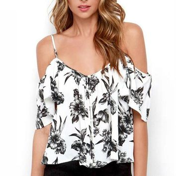 Ruffles Off Shoulder Strap Camisole