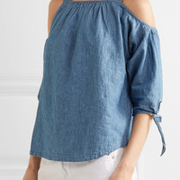 Madewell - Cold-shoulder linen and cotton-blend chambray top