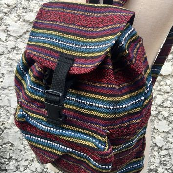 Aztec Boho Tribal Woven Backpack Festival Hippie Colorful Style Napali fabric Travel School bag Unique Handmade gift men women Burning man