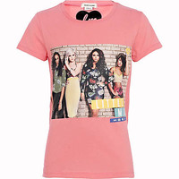 Girls pink Little Mix print t-shirt