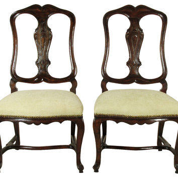 18th-C. Dutch Rococo Chairs, Pair