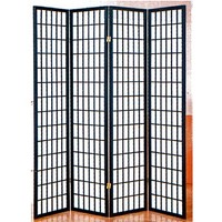4 panel black room divider shoji screen