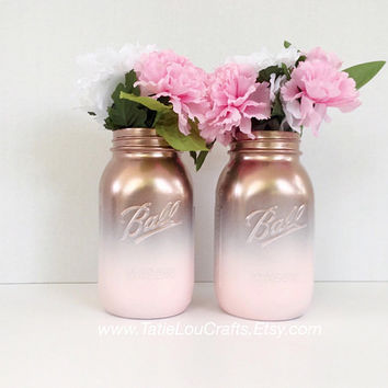 Set Of 2 Ombre Jars, Birthday Centerpiece, Baby Shower Centerpiece, Birthday Table Decor, Ombre Jars, Painted Jars,Bridal Shower Decor.