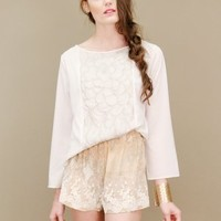 Soft pink silk and lace shorts by Aryn K. with a white and taupe print | shopcuffs.com