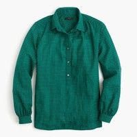 Gathered popover shirt in two-tone gingham : Women button-ups | J.Crew