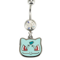 14G Steel Pokemon Bulbasaur CZ Navel Barbell