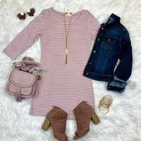 Hitting the Town 3/4 Dress: Dusty Rose